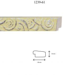 Moldura Grabada de perfil 1239, en acabado AMARILLO PLATA. Tamaño de la moldura 38mm x 19mm.