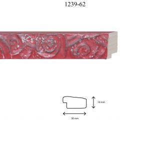 Moldura Grabada de perfil 1239, en acabado ROJO PLATA. Tamaño de la moldura 38mm x 19mm.