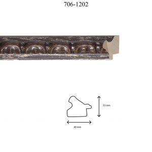 Moldura Grabada de perfil 706, en acabado NOGAL PLATA. Tamaño de la moldura 40mm x 30mm.