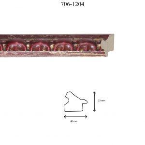 Moldura Grabada de perfil 706, en acabado ROJO PLATA. Tamaño de la moldura 40mm x 30mm.