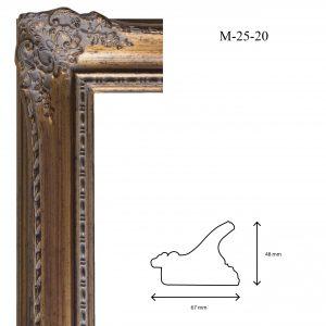 Marcos de Estilo Moldura M-25-20, en acabado ORO. Tamaño de la moldura 67mm x 48mm.