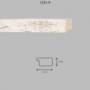 Moldura Lisa de Perfil 1241, en acabado BLANCO F. MARRÓN. Tamaño de la moldura 45mm x 22mm.