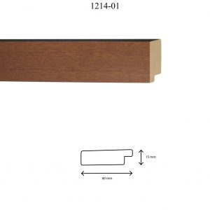 Moldura Lisa de Perfil 1214, en acabado CEREZO. Tamaño de la moldura 60mm x 15mm.