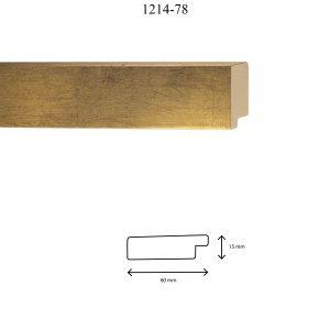 Moldura Lisa de Perfil 1214, en acabado ORO. Tamaño de la moldura 60mm x 15mm.