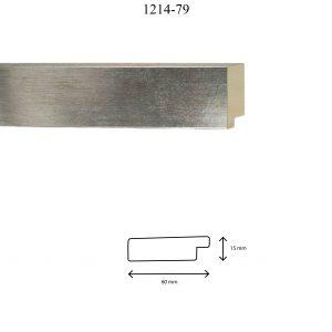 Moldura Lisa de Perfil 1214, en acabado PLATA. Tamaño de la moldura 60mm x 15mm.