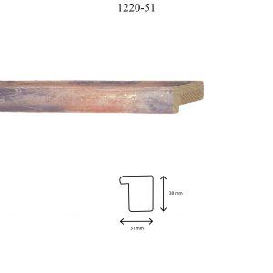 Moldura Lisa de perfil 1220, en acabado GLICINA. Tamaño de la moldura 31mm x 38mm.
