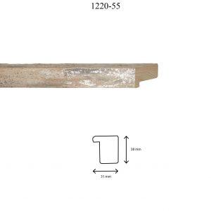 Moldura Lisa de perfil 1220, en acabado TORTORA. Tamaño de la moldura 31mm x 38mm.