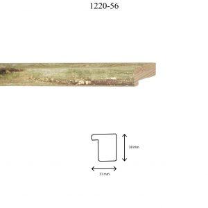 Moldura Lisa de perfil 1220, en acabado VERDE. Tamaño de la moldura 31mm x 38mm.