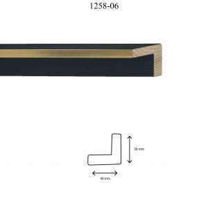 Moldura Lisa de perfil 1258, en acabado ORO NEGRO. Tamaño de la moldura 40mm x 36mm.