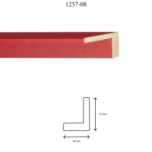 Moldura Lisa de perfil 1257, en acabado ROJO. Tamaño de la moldura 40mm x 52mm.