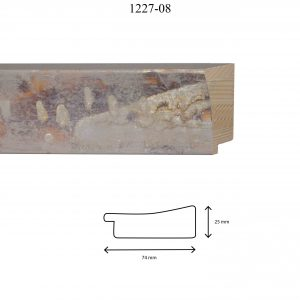 Moldura Lisa de Perfil 1227, en acabado GRIS DIFUMINADO. Tamaño de la moldura 74mm x 25mm.