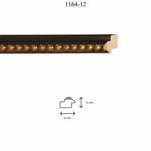 Moldura Grabada de perfil 1164, en acabado NEGRO ORO. Tamaño de la moldura 25mm x 15mm.
