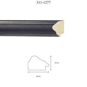 Moldura Lisa de Perfil 311, en acabado PLATA E. WENGUE. Tamaño de la moldura 60mm x 40mm.