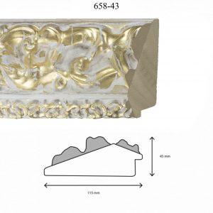 Moldura Grabada de Perfil 658, en acabado DECAPE ORO. Tamaño de la moldura 115mm x 45mm.
