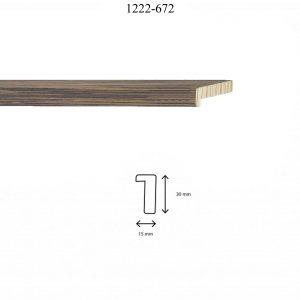 Moldura Lisa de perfil 1222, en acabado CHAPA WENGUE. Tamaño de la moldura 15mm x 30mm.