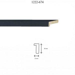 Moldura Lisa de perfil 1222, en acabado CHAPA ÉBANO. Tamaño de la moldura 15mm x 30mm.