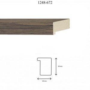 Moldura Lisa de perfil 1248, en acabado CHAPA WENGUE. Tamaño de la moldura 40mm x 50mm.