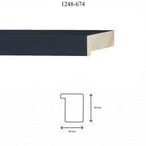 Moldura Lisa de perfil 1248, en acabado CHAPA ÉBANO. Tamaño de la moldura 40mm x 50mm.