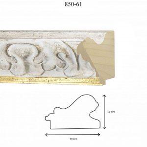 Moldura Grabada de Perfil 850, en acabado DECAPE FILO ORO. Tamaño de la moldura 90mm x 55mm.