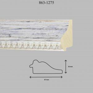 Moldura Grabada de Perfil 863, en acabado DECAPE PLATA. Tamaño de la moldura 87mm x 36mm.