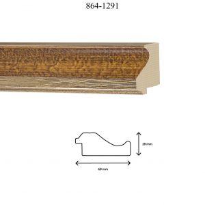 Moldura Lisa de Perfil 864, en acabado CALABAZA PLATA. Tamaño de la moldura 68mm x 28mm.