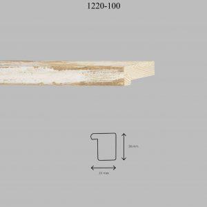 Moldura Lisa de perfil 1220, en acabado DECAPÉ MARRÓN OSCURO. Tamaño de la moldura 31mm x 38mm.