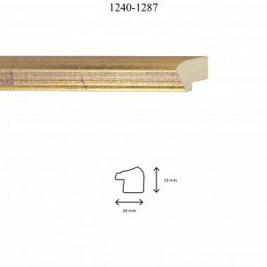 Moldura Lisa de perfil 1240, en acabado ORO F. LILA. Tamaño de la moldura 26mm x 23mm.