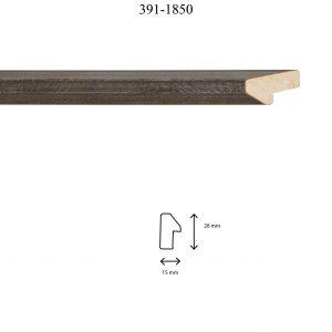 Moldura Lisa de perfil 391, en acabado PLATA. Tamaño de la moldura 15mm x 28mm.