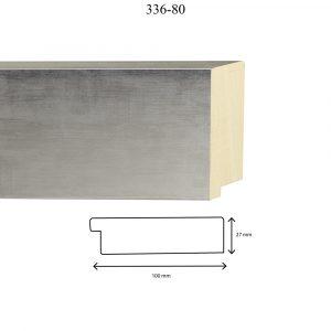 Moldura Lisa de Perfil 336, en acabado PLATA ESPEJO. Tamaño de la moldura 100mm x 25mm.