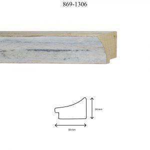 Moldura Lisa de Perfil 869, en acabadoDECAPE PLATA F. NEGRO. Tamaño de la moldura 50mm x 34mm.