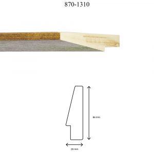 Moldura Lisa de perfil 870, en acabado NOGAL VERDE. Tamaño de la moldura 28mm x 86mm.