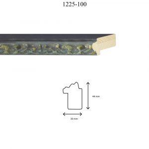 Moldura Grabada de perfil 1225, en acabado ÓXIDO PLATA. Tamaño de la moldura 30mm x 44mm.
