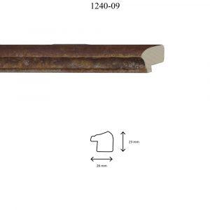 Moldura Lisa de perfil 1240, en acabado ÓXIDO ESPONJA. Tamaño de la moldura 26mm x 23mm.
