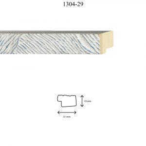Moldura Grabada de perfil 1304, en acabado PLATA F. AZUL. Tamaño de la moldura 31mm x 19mm.