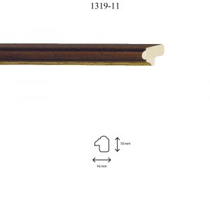 Moldura Lisa de perfil 1319, en acabado NOGAL PICADO FILO ORO. Tamaño de la moldura 16mm x 18mm.