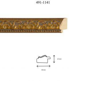 Moldura Grabada de perfil 491, en acabado ORO ENVEJECIDO. Tamaño de la moldura 40mm x 23mm.