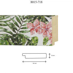 Moldura Lisa de Perfil 8015, en acabado FLORES TROPICAL DM. Tamaño de la moldura 82mm x 15mm.