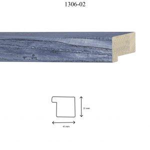 Moldura Lisa de Perfil 1306, en acabado AZUL. Tamaño de la moldura 41mm x 31mm.