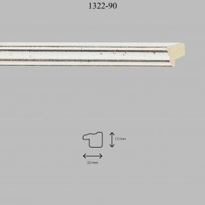 Moldura Lisa de perfil 1322, en acabado BLANCO. Tamaño de la moldura 22mm x 17mm.