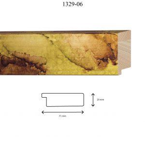 Moldura Lisa de Perfil 1329, en acabado VERDE FUSIÓN. Tamaño de la moldura 71mm x 20mm.