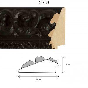 Moldura Grabada de Perfil 658, en acabado NEGRO. Tamaño de la moldura 115mm x 45mm.