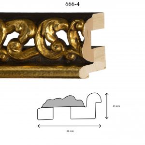 Moldura Grabada de Perfil 666, en acabado ORO AGUA ARTESANO. Tamaño de la moldura 110mm x 45mm.