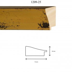 Moldura Lisa de Perfil 1209, en acabado AMARILLO. Tamaño de la moldura 73mm x 32mm.
