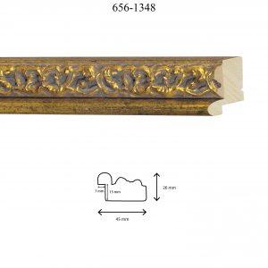 Moldura Grabada de Perfil 656, en acabado ORO GOTAS. Tamaño de la moldura 45mm x 26mm. Rebaje de 15mm x 7mm.