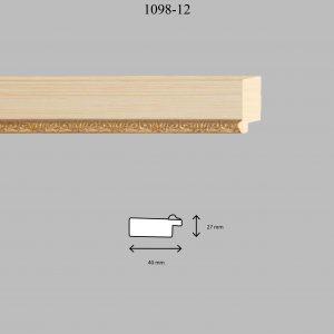 Moldura Grabada de perfil 1098, en acabado SUPL. BLANCO PAT. F. O. 40MM. Tamaño de la moldura 40mm x 27mm.