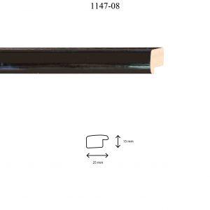 Moldura Lisa de perfil 1147, en acabado NEGRO. Tamaño de la moldura 25m x 15mm.