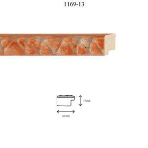 Moldura Grabada de perfil 1169, en acabado NARANJA PLATA. Tamaño de la moldura 30mm x 17mm.