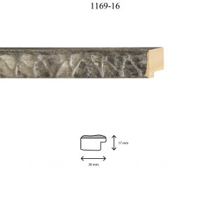 Moldura Grabada de perfil 1169, en acabado NEGRO PLATA. Tamaño de la moldura 30mm x 17mm.