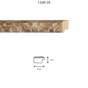 Moldura Grabada de perfil 1169, en acabado MARRÓN PLATA. Tamaño de la moldura 30mm x 17mm.