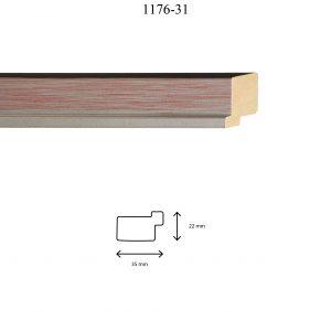 Moldura Lisa de perfil 1176, en acabado PLATA ROJO. Tamaño de la moldura 35m x 22mm.